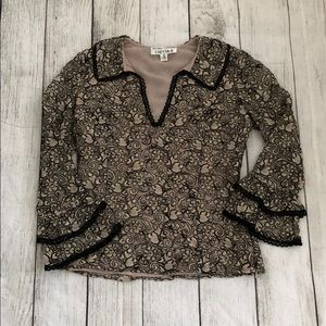 Chetta B lace floral textured bell sleeve top